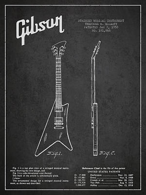 Mccarty Gibson Stringed Instrument Patent Drawing From 1958 - Dark Art Print by Aged Pixel