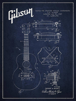 Bass Digital Art - Mccarty Gibson Stringed Instrument Patent Drawing From 1969 - Navy Blue by Aged Pixel