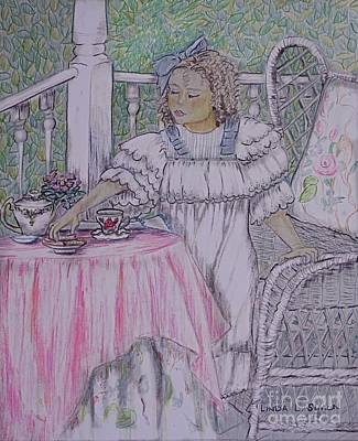Child Drawing - Mckenna's Tea Party by Linda Simon