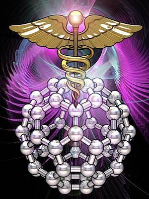 Caduceus Photograph - Medical Symbol And Molecular Model by Laguna Design