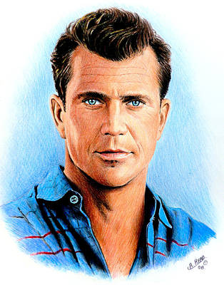 Gibson Drawing - Mel Gibson by Andrew Read