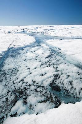 Melt Water On The Greenland Ice Sheet Print by Ashley Cooper