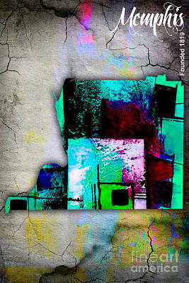 Old Mixed Media - Memphis Map Watercolor by Marvin Blaine