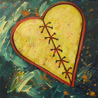 Broken Heart Painting - Mended Broken Heart Of Gold by Carol Suzanne Niebuhr