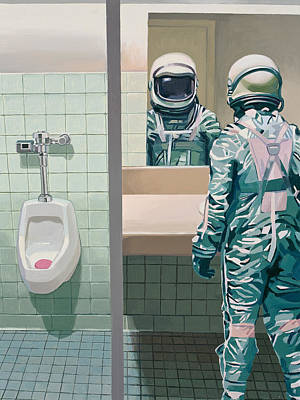 Mirror Art Painting - Men's Room by Scott Listfield