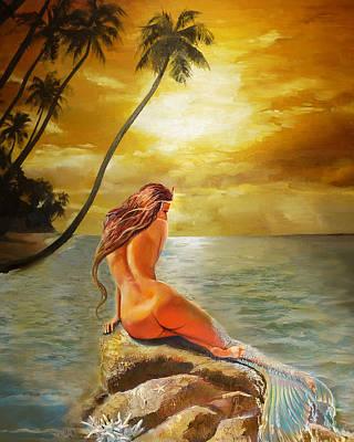 Mermaid Digital Art - Mermaid Change Her Tail by Lila Prokopenko