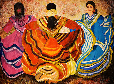 Three Girls Painting - Mexican Fiesta by Sushobha Jenner
