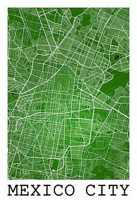 Mexico Digital Art - Mexico City Street Map - Mexico City Mexico Road Map Art On Colo by Jurq Studio