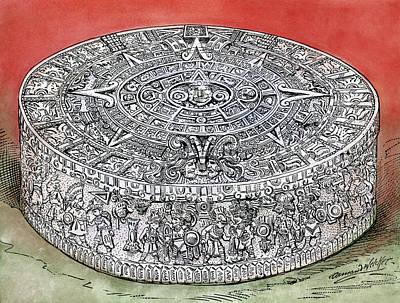 Disc Drawing - Mexico Stone Of The Sun by Granger