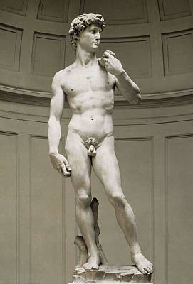 Statue Portrait Photograph - Michelangelo 1475-1564. David by Everett