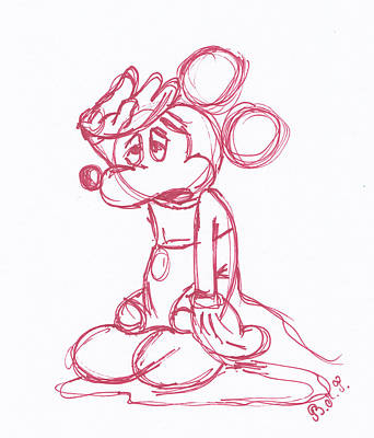 Animation Drawing - Mickey Mouse Sketch by Barnea Maria Tereza