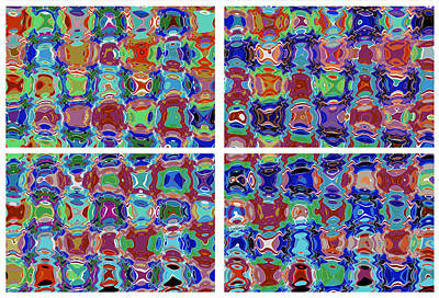 Micro Graphic Digital Spectrum  Characters Faces Eyes Cartoons Pebbles Crystals Legs Movement Chaoti Art Print
