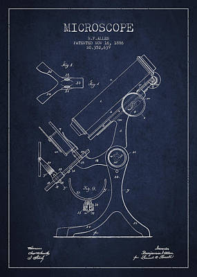 Microscope Patent Drawing From 1886 - Navy Blue Art Print