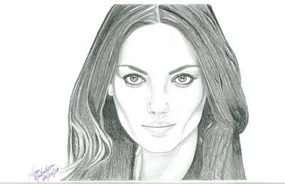 Actors Drawing - Mila Kunis by Gloria MacEachern