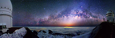 North American Photograph - Milky Way Over Telescopes On Hawaii by Walter Pacholka, Astropics