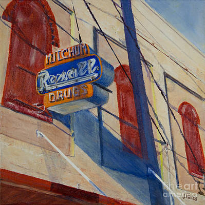 Rexall Drug Painting - Mitchum's Drug Store by Janet Felts
