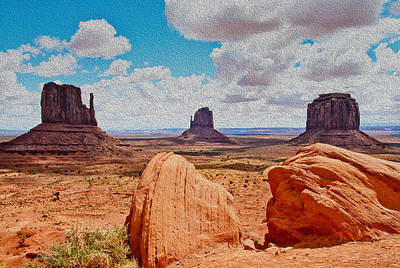 Photograph - Mittens Monument Valley Faux Oil by James Hammond