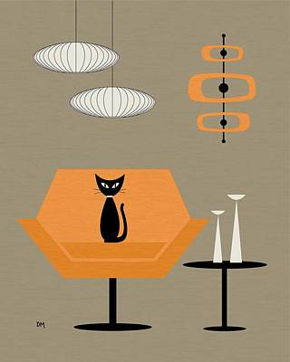 Eames Digital Art - Mod Chair In Orange by Donna Mibus