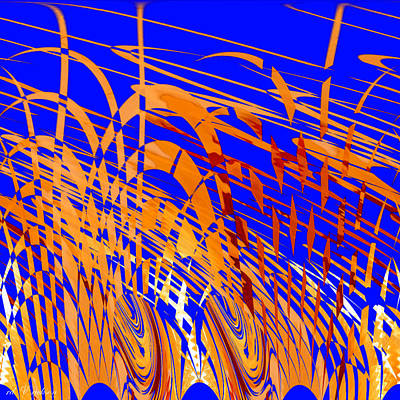 Digital Art - Modern Art Viii - Variation In Orange And Blue by Roy Erickson