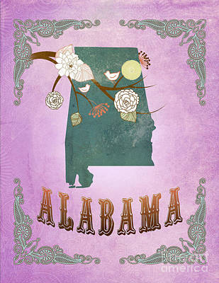 Purple Grapes Digital Art - Modern Vintage Alabama State Map  by Joy House Studio