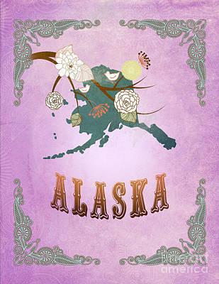 Purple Grapes Digital Art - Modern Vintage Alaska State Map  by Joy House Studio
