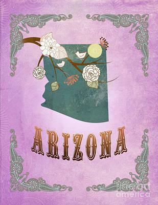 Purple Grapes Digital Art - Modern Vintage Arizona State Map  by Joy House Studio