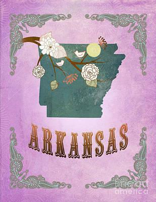 Purple Grapes Digital Art - Modern Vintage Arkansas State Map  by Joy House Studio