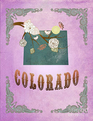 Purple Grapes Digital Art - Modern Vintage Colorado State Map  by Joy House Studio