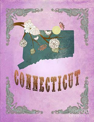 Purple Grapes Digital Art - Modern Vintage Connecticut State Map  by Joy House Studio