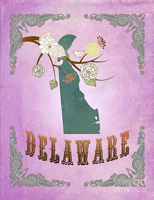 Purple Grapes Digital Art - Modern Vintage Delaware State Map  by Joy House Studio