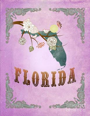 Purple Grapes Digital Art - Modern Vintage Florida State Map  by Joy House Studio