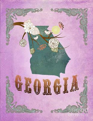 Purple Grapes Digital Art - Modern Vintage Georgia State Map  by Joy House Studio