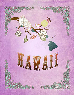 Purple Grapes Digital Art - Modern Vintage Hawaii State Map  by Joy House Studio