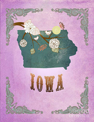 Purple Grapes Digital Art - Modern Vintage Iowa State Map  by Joy House Studio