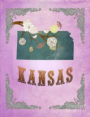 Purple Grapes Digital Art - Modern Vintage Kansas State Map  by Joy House Studio