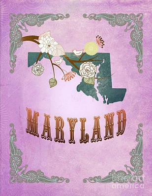 Purple Grapes Digital Art - Modern Vintage Maryland State Map  by Joy House Studio