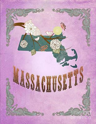 Purple Grapes Digital Art - Modern Vintage Massachusetts State Map  by Joy House Studio