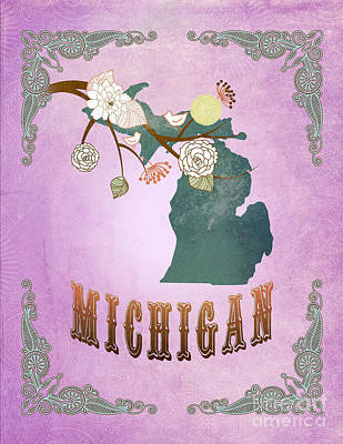 Purple Grapes Digital Art - Modern Vintage Michigan State Map  by Joy House Studio