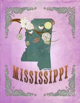 Purple Grapes Digital Art - Modern Vintage Mississippi State Map  by Joy House Studio