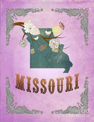Purple Grapes Digital Art - Modern Vintage Missouri State Map  by Joy House Studio