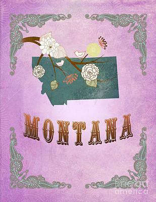 Purple Grapes Digital Art - Modern Vintage Montana State Map  by Joy House Studio
