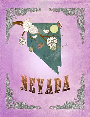 Purple Grapes Digital Art - Modern Vintage Nevada State Map  by Joy House Studio