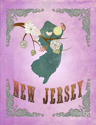 Purple Grapes Digital Art - Modern Vintage New Jersey State Map  by Joy House Studio