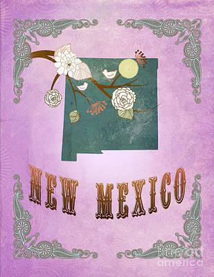 Purple Grapes Digital Art - Modern Vintage New Mexico State Map  by Joy House Studio