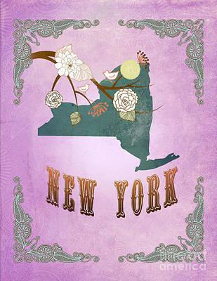 Purple Grapes Digital Art - Modern Vintage New York State Map  by Joy House Studio
