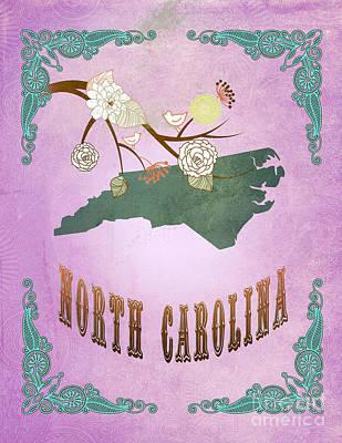 Purple Grapes Digital Art - Modern Vintage North Carolina State Map  by Joy House Studio