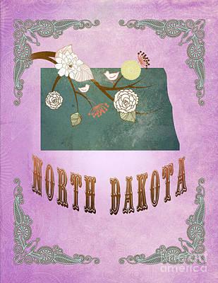 Purple Grapes Digital Art - Modern Vintage North Dakota State Map  by Joy House Studio