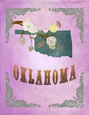 Purple Grapes Digital Art - Modern Vintage Oklahoma State Map  by Joy House Studio
