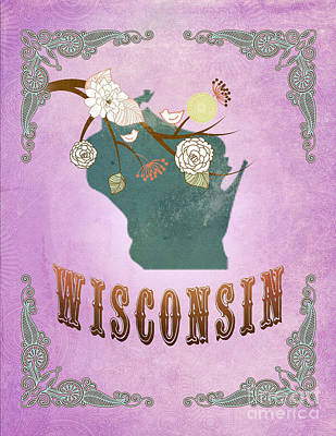 Purple Grapes Digital Art - Modern Vintage Wisconsin State Map  by Joy House Studio