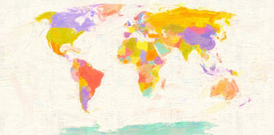 Earth Map Painting - Modern World Map by Celestial Images